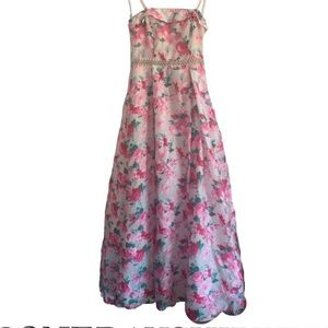 Windsor Pink Floral Formal Dress with Petticoat
